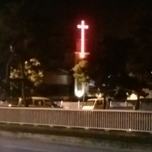 On our walk into Goesan, we saw this church Leanndra says she attended during orientation. It had a neon red cross.