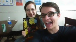 """Leanndra and I with the book we were currently reading for book club: one of my favorites-- """"Watchmen""""!"""