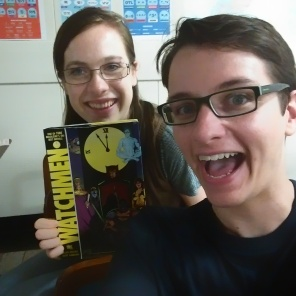 "Leanndra and I with the book we were currently reading for book club: one of my favorites-- ""Watchmen""!"