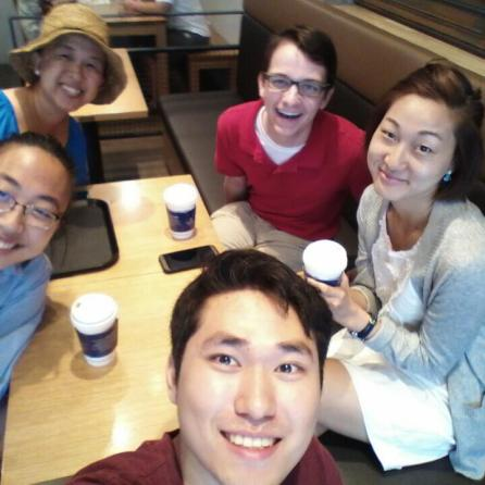 Photo credit: Grace Lee From bottom, clockwise: Esther, Grace, me, Becky, Kirim at the coffee shop.